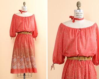 Rose Pink Dress L • 70s Peasant Dress • Pink Floral Dress • Floral Summer Dress • Puff Sleeve Dress • Scoop Neck Dress • Boho Dress | D412