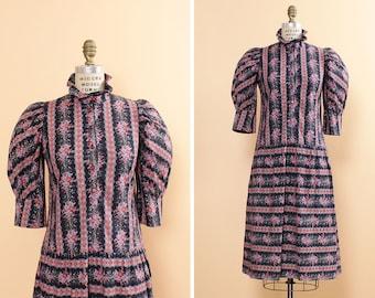Navy Calico Dress S/M • Floral Cotton Dress with Pockets • Ruffle Dress • Puffy Sleeve Dress • Summer Dress • High Neck Dress | D830