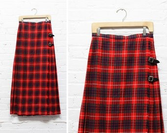 Red Maxi Skirt M • Plaid Pleated Maxi Skirt • Flannel Wrap Around Skirt • Red and Black Pleated Maxi Skirt • Red Wool Skirt    SK382
