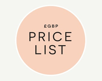 GBP Price List // Wedding Invitations // Information Only (Do Not Purchase) // Expand 'Item Details' to View