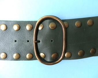 Vintage 1970's Green Leather Wide Belt with Brass Studs/Boho Green Leather Belt with Studs/Hippie Green Leather Belt/Sibyl Vane