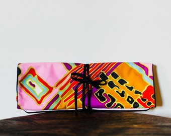 60s Vibrant Neon Make Up Bag. Travel Toiletry Bag. Jewelry Organizer.