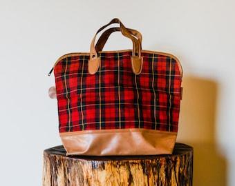 60s Red Tartan Plaid and Tan Vinyl Top Handle Bag. Carry on Bag. Train Case. Overnight Bag. Men or Women