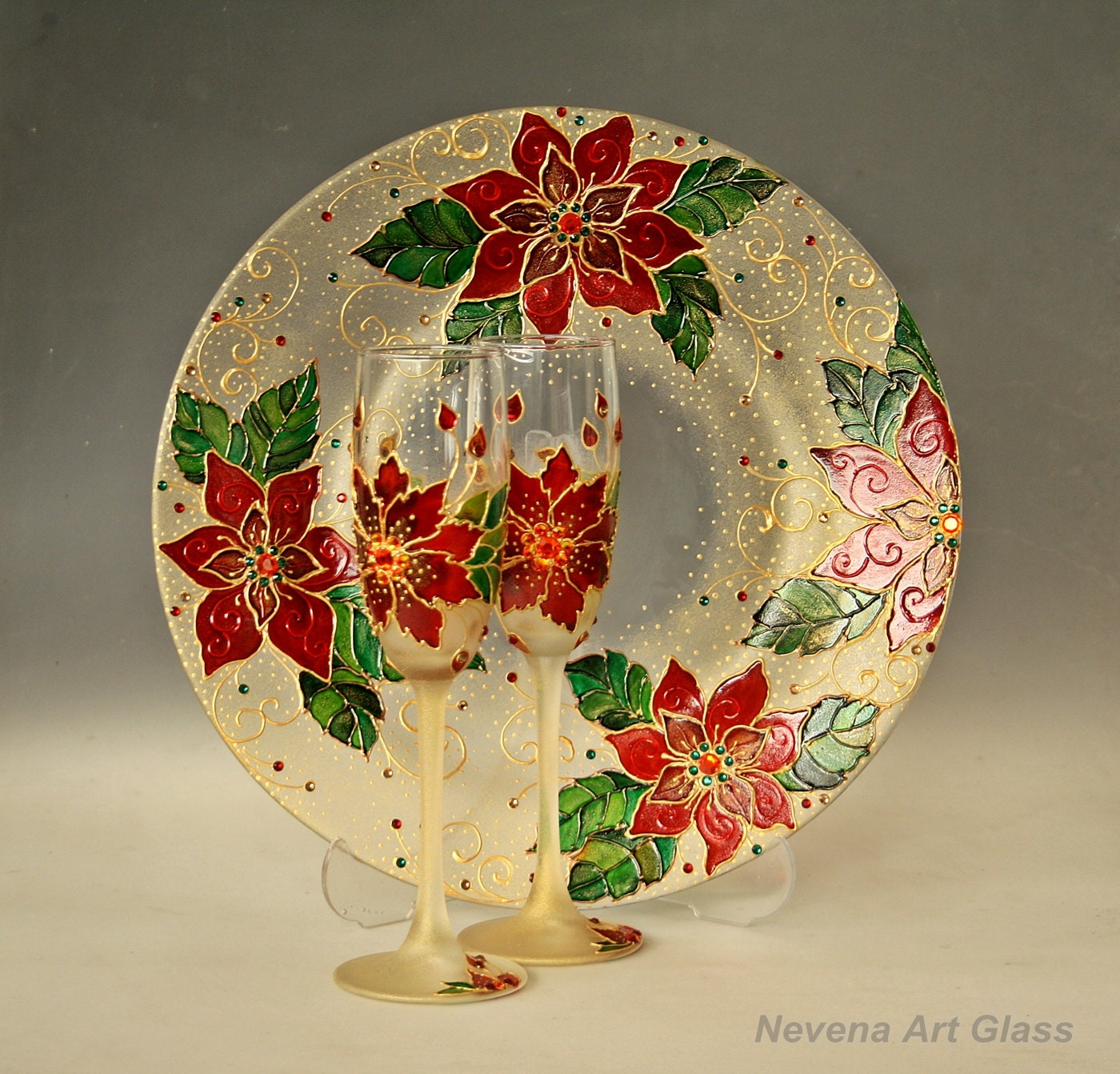 Hand Painted Glass Plate Poinsettia Christmas Plate