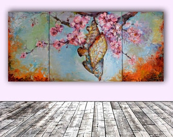 The Methamorphoses of a Chrysalis - FREE SHIPPING - Modern Ready to Hang Painting - Original Oil Painting, Ready to Hang Wall Decoration