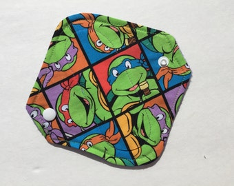 "Cloth Panty Liner Cotton Fleece 6.5"" Ninja Turtles All In One"
