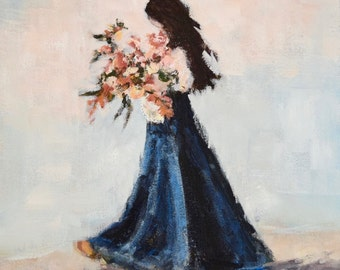 Original Figurative Painting Flowers Girl painting Blue Orange  These Gifts  11x14   Swalla Studio Bouquet Flowers