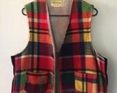 Vintage Melton Plaid Vest Wool Lumberjack Outerwear