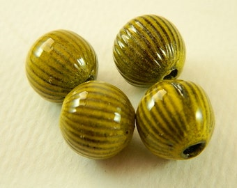 Yellow Torch Fired Enameled Beads Set