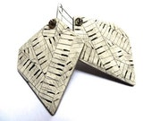 Piano Polygon Earrings 1 - OOAK hand carved music jewelry