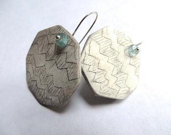 Chevron Octagon Earrings - hand carved clay and gemstone jewelry