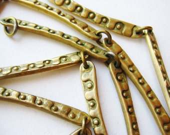Vintage Jeep Collins Brass Mid Century Modernist Chain Link Necklace