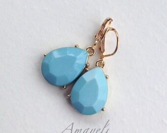 Clearance sale Light blue earrings, gold drop earrings, baby blue earrings, teardrop earrings, blue and gold earrings, womens earrings, fash