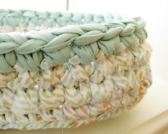 Crochet Rag  Basket-Crocheted Rag Bowl-Repurposed-EcoFriendly-Pastel Rag Basket-Shabby Chic-Oval Rag Basket-Crochet Oval Bowl-Oval Rag Bowl