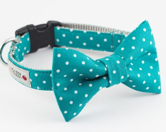Teal Dot Dog Bowtie Collar