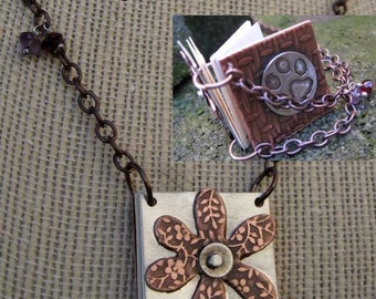 Reversible flower and dog paw little book necklace daisy flower power notebook