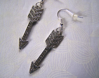 Arrow Earrings Silver Crystal Pave