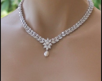 Crystal Bridal Necklace, Crystal Necklace, Pearl Drop Necklace, Crystal Bridal Jewelry, Wedding Necklace,  COLETTE