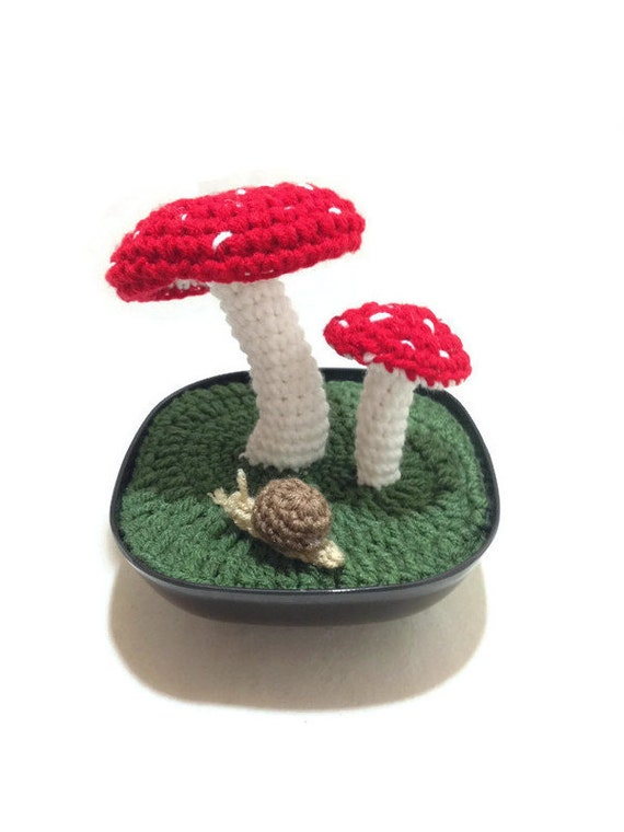 Mushroom Fiber Art, Amanita Muscaria Art, Mushroom Centerpiece, Mushroom Decor, Mushroom Art, Red Mushrooms, Mushroom and Snail Art