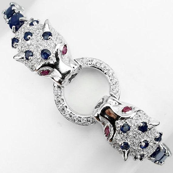 "Genuine Blue Sapphire gemstones, 14kt White Gold Bracelet 7"""