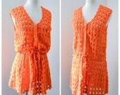 1960s 70s Orange cotton crochet tunic dress / 60s crocheted cover up - S M