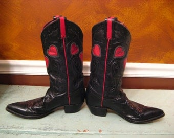 Larry Mahan 'Thieves Market' Black & Red Heart Vintage Cowboy Boots fits 7.0-8.0