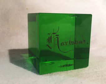 """Green Carlsbad Glass Paperweight, 1920s Souvenir - [Size- 2 1/8"""" x 2 1/8"""", Square, Color- Green w/ Gold Lettering Vintage]"""