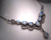 Vintage Victorian Moonstone Necklace Estate Pendant Sterling Silver