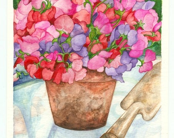 Sweet Peas Watercolor 8X10 Print