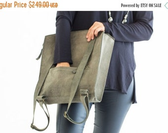 Gray Backpack Bag, Laptop Backpack, Gray Leather Backpack, Women Backpack, Gray Backpack, Travel Bag, Gray Leather bag