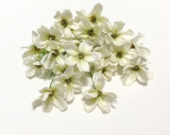 Silk Flowers - 24 Cream Green Baby Cosmos - TINY FLOWERS - Artificial Flowers, Flower Crown