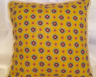 Provence Country French Pillow Yellow Black Red Ivory Gold Blue Cottage Country Provencal Print