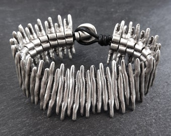 Withered Blades Silver Statement Bracelet - Authentic Turkish Style