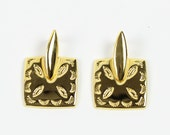VINTAGE 1990s Gold Dangle Earrings Square Pierced