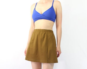 VINTAGE Swimsuit Skirt Cover Up Mustard Brown