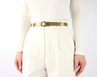 VINTAGE Brass Belt Skinny Metallic Vegan