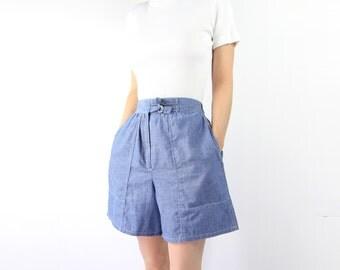 VINTAGE Chambray Shorts 1980s High Waist Long Blue