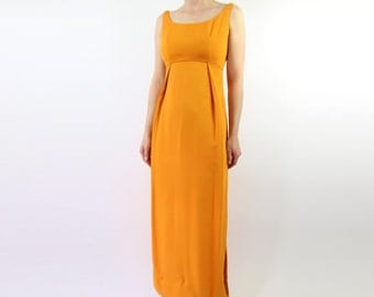 VINTAGE Emma Domb Gown 1960s Orange Dress