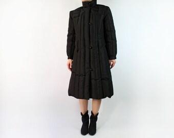 VINTAGE Black Down Coat 1980s Puffy Coat