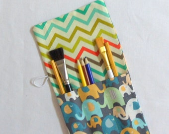 Handmade Pencil Rollup Fabric Rollup for Pencils Paintbrushes Crochet Hooks Knitting Needles Makeup Brushes Gift for Her