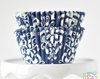 Damask Navy BakeBright GREASEPROOF Baking Cups Cupcake Liners | ~30 count