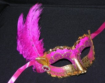 Shades of Pink and Gold Feather Masquerade Mask