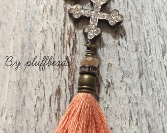 New CHARM dangle drop set fringe Light Apricot  tassel pave cross Zen donut charm