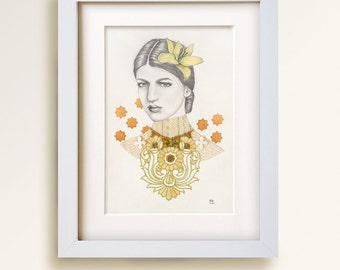 Anya. Beaded and embroidered graphite portrait on paper with semiprecious stone. 16 x 20. Fine art original.