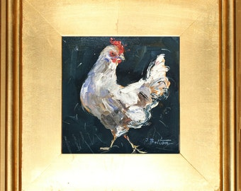 "White Hen, Oil Painting Portrait, Original Rooster Oil Painting,  Chicken Painting Chicken Art, small painting 6x6"" in Gold Frame  Gift Item"