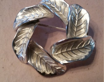 Vintage Christian Dior Sterling Silver Leaf Wreath Brooch Pin Germany