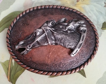 SALE Vintage Horse Head Belt Buckle 1990s Western Southwestern Rodeo Oval