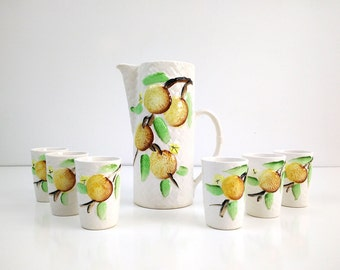 Vintage Basket Weave Pitcher and Juice Glasses / Asian Pear or Lemon Branches / Drink Set