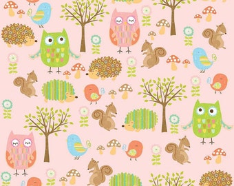 Owl & Co Fabric Friends in Pink by Riley Blake - 1 Yard