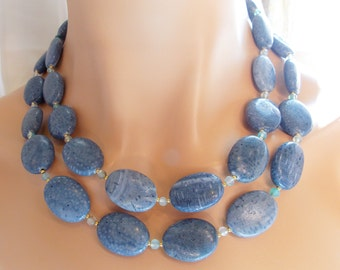 Multi Strand Blue Coral Statement Necklace Aqua Blue Agate Bib Necklace